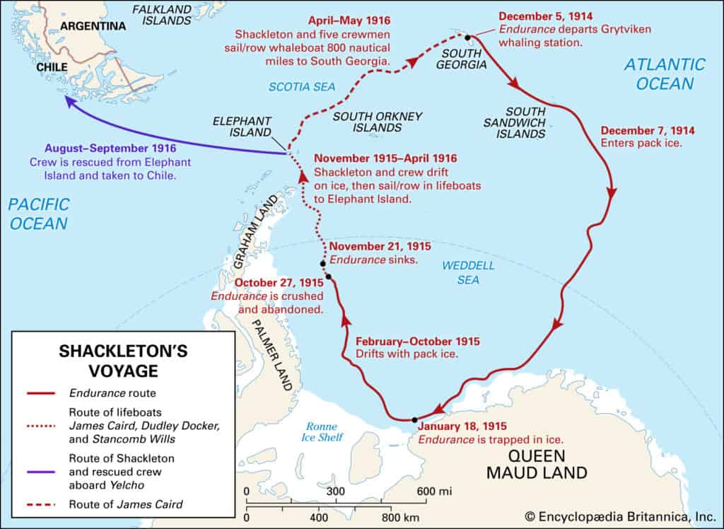 Die Route des Sir Ernest Shackleton